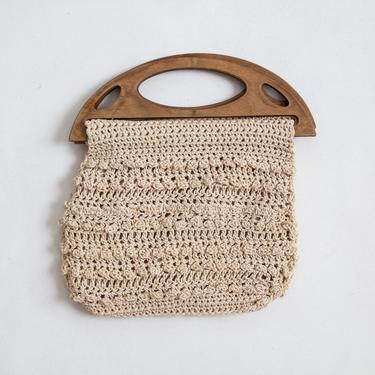 Milenrama Purse — vintage crocheted purse / small ecru woven cotton boho knotted handbag / 70s wood handle braided lace string purse by fieldery