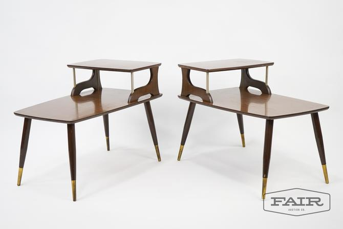 Pair of Formica Two Tier End Tables