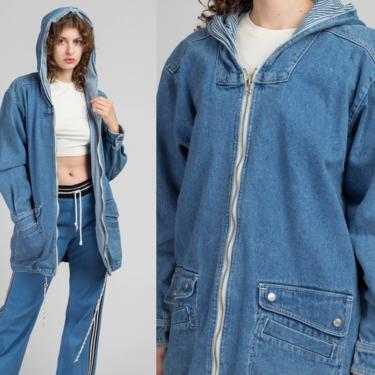 90s Hooded Denim Chore Coat - Medium | Vintage Striped Trim Long Jean Jacket by FlyingAppleVintage