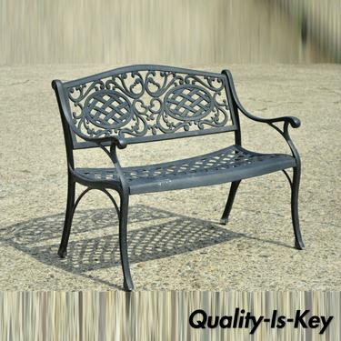 Tuscan Mediterranean Style Black Cast Aluminum Garden Patio Bench Loveseat (A)