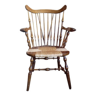 Rush Seat Dining Arm Chair, Vintage Farmhouse Decor, NICHOLS and STONE Chairs, French Country Style by 3GirlsAntiques