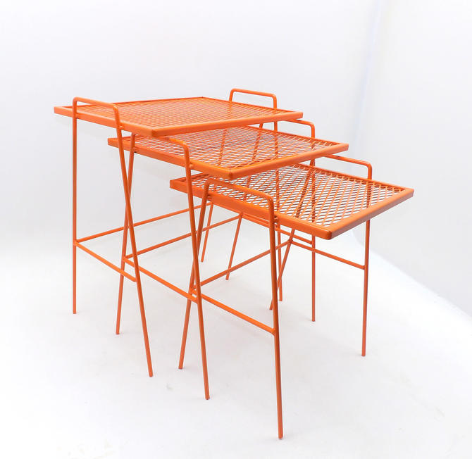 Mid Century Modern Salterini Nesting Tables Metal Wire Patio Living Room Mesh Grate Style Tables Vibrant Orange by MakingMidCenturyMod