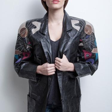leather jacket coat oversize vintage 80s long textured black applique embroidery colorful M L MEDIUM LARGE by shoprabbithole