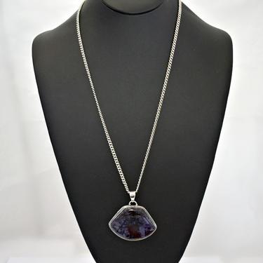 Big 80's charoite 925 silver asymmetrical modified trapezoid pendant, striking purple black stone & sterling geometric statement necklace by BetseysBeauties