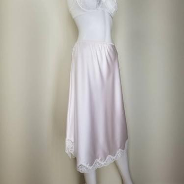 Vintage 70s Pink Lingerie Lace Half Slip, Medium / Scalloped White Lace Midi Skirt Slip / Silky Pink Elastic Waist Slip / Barbizon Half Slip by SoughtClothier