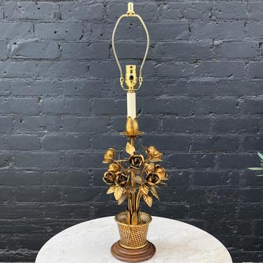 Antique Italian Gilded Metal Floral Table Lamp by VintageSupplyLA