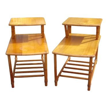 MCM End Tables, Heywood Wakefield Bamboo End Tables, Bedside Tables, Vintage Bedroom Decor by 3GirlsAntiques