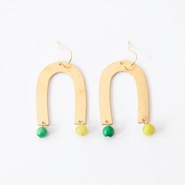 Arch earrings with Green and Celadon beads