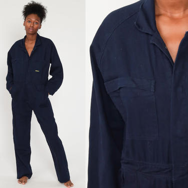 90s Coveralls Pants Jumpsuit 1990s Boiler Suit Workwear One Piece Work Wear Grunge Bisley Navy Blue Vintage Pantsuit Mechanic Medium Large by ShopExile