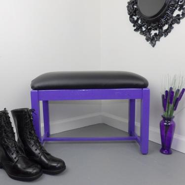 Padded Bench Purple Black Vanity Vinyl Wood Chair Seat Foot Bed Stool Dressing Room Bathroom Bridal Shop Vintage Mid Century Entryway Hot! by MakingMidCenturyMod