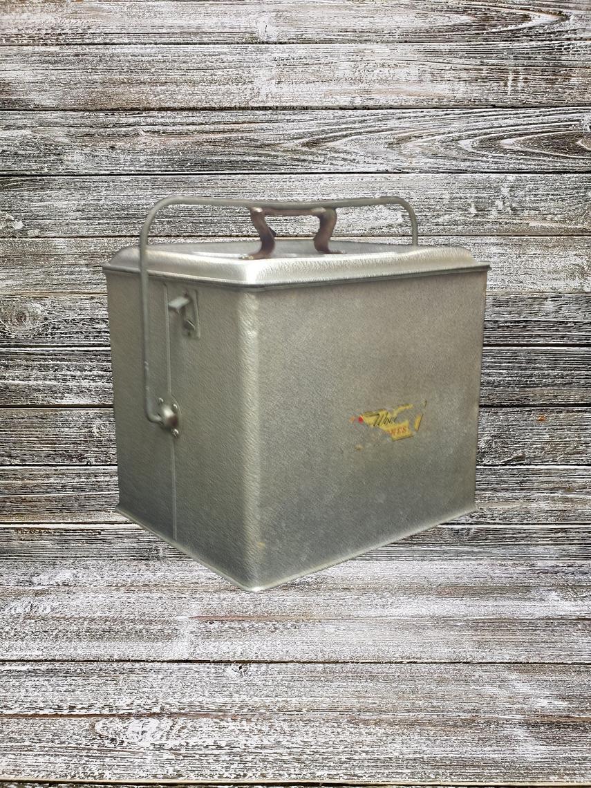 Vintage Silver Metal Cooler 1950 S Poloron Fiberglass