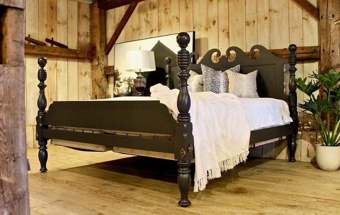 Folksy Cannonball & Beehive Bed, Original Posts Circa 1830, Resized to King. Tiger Maple in Paint