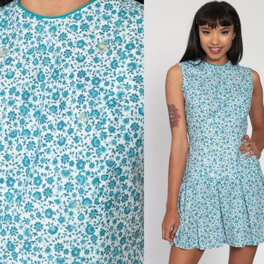 Floral Scooter Dress 60s Mini Mod Blue Calico Drop Waist Dress PLEATED 1960s Vintage Sixties Dress Twiggy Go Go Sleeveless MiniDress Small by ShopExile