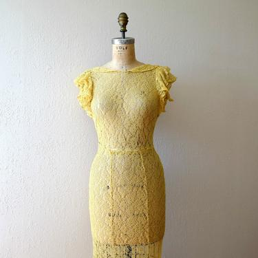 1930s lace gown . vintage 30s yellow lace dress by BlueFennel