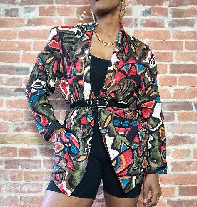 Vintage 1980s 1990s Abstract Graphic Boho Pop Art Earth Tone African Mixed Print Cowrie Shell Lightweight Long Jacket Blazer by KeepersVintage
