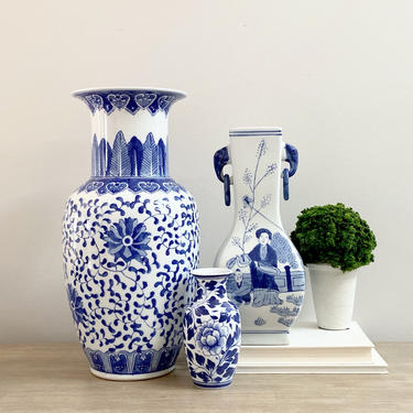 """Large Chinese Vase Blue White Baluster Vase 15"""" Tall Chinoiserie Asian Decor by ModRendition"""