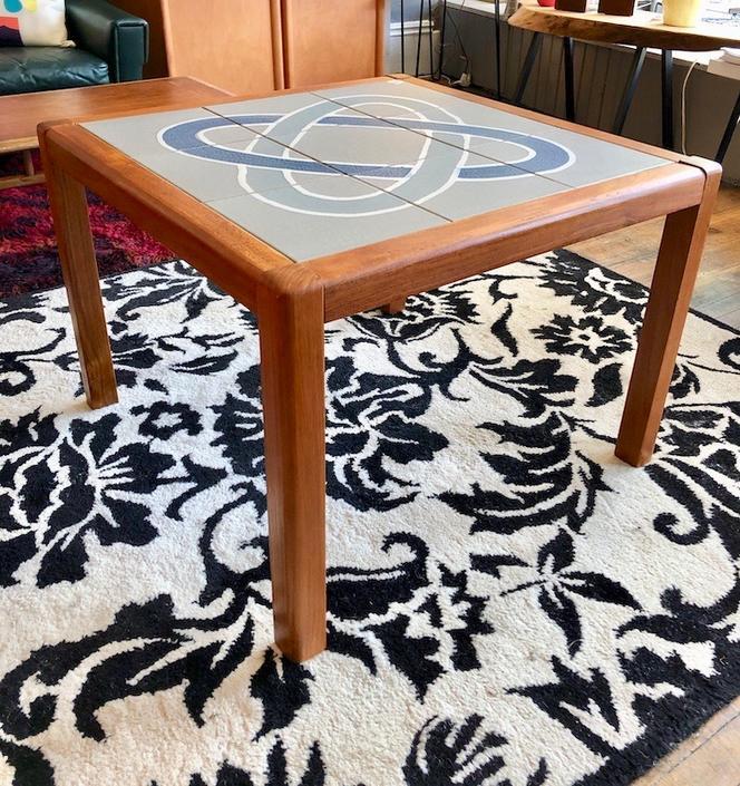 Danish Modern Teak and Tile Occasional Table