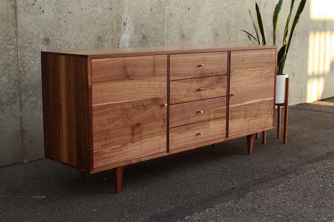 "Danish Modern Console, 60""W, Credenza, Sideboard, (shown in walnut) by TomfooleryWood"