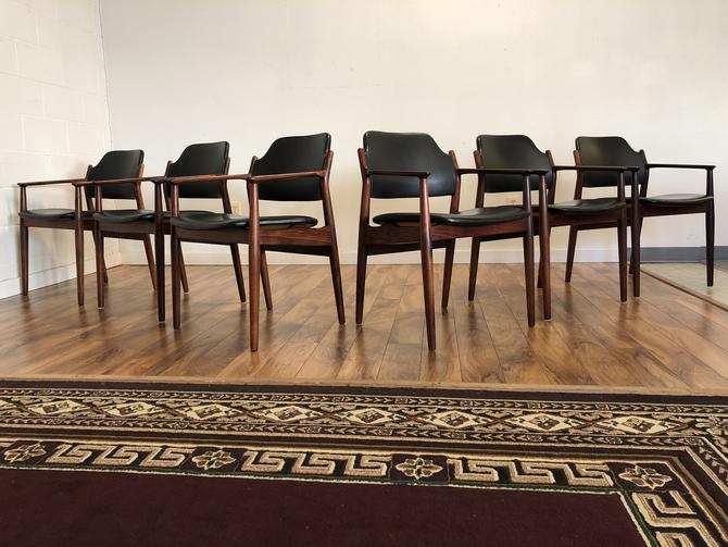 Arne Vodder Rosewood & Leather Dining Chairs