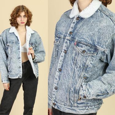 80s Levi's Acid Wash Denim Sherpa Jacket - Men's Medium | Vintage Shearling Jean Jacket Grunge Trucker Coat by FlyingAppleVintage
