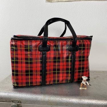 Vintage Insulated Picnic Bag Plaid Tartan by DesertCactusVintage
