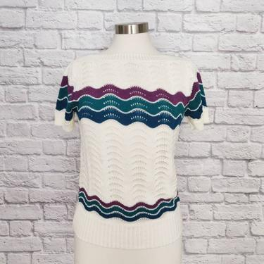 Vintage 80s Sweater // Scalloped Chevron Pattern // White, Green, and Purple by GemVintageMN