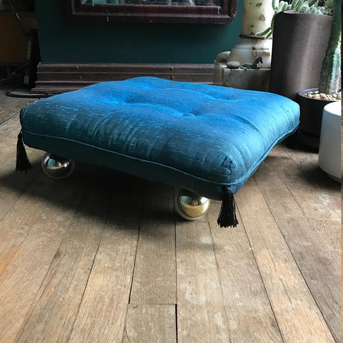 Vintage 1960s Teak Rolling Magic Combed Silk Pillow Cushion Low Ottoman Casters like Wormley Baughman Pearsall Buttons Tassels Floating by BrainWashington