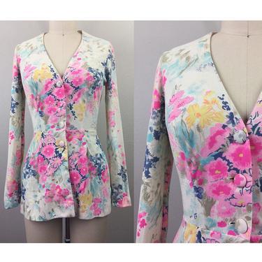 Vintage 60s 70s Ladies Floral Blouse Shirt Jacket Sundays' Child 1960s 1970s S by FlashbackATX