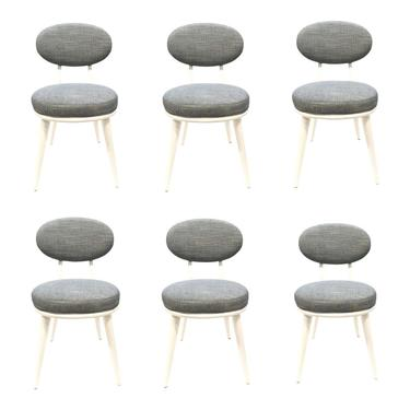 Drexel Heritage Blue-Gray Dwelling Dining Chairs Set of Six