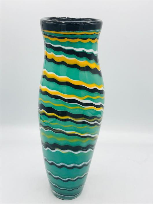 Vintage Green Black Orange Stripe Studio Art Glass Bowl Vase Glass Signed  K. Mitchell by JoAnntiques