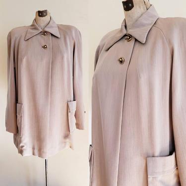 1940s Gray Beige Gabardine Wool Jacket Swing Coat / 40s Hip Jacket with Pockets / Seno / L or Extra Large Plus by RareJuleVintage