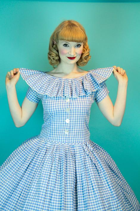 CUTE 1950s Vintage Summer Dress Checkered Baby Blue Cotton Gingham Ruffle Neckline Circle Skirt  Size S by WalkinVintage
