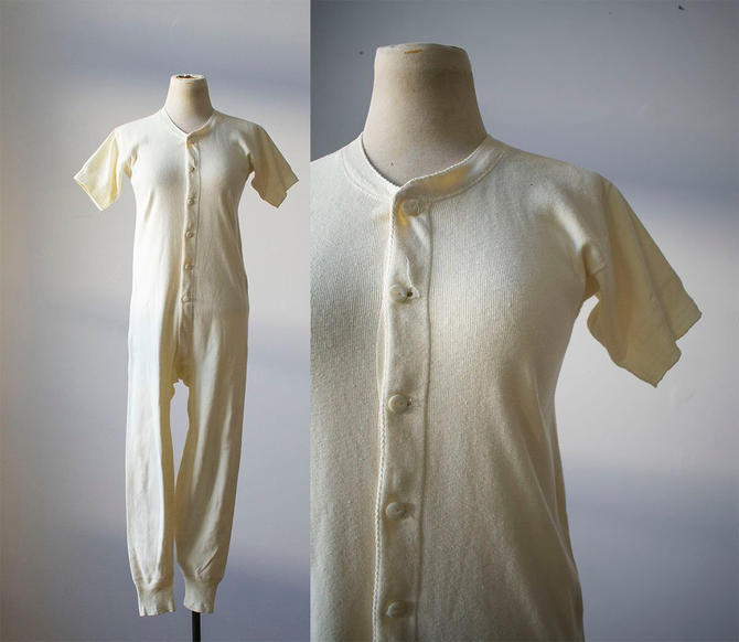 Vintage Long Underwear / Vintage Union Suit / Cotton Knit Long Underwear / Cotton Knit Union Suit / Vintage Pajamas / Vintage JC Pennys by milkandice