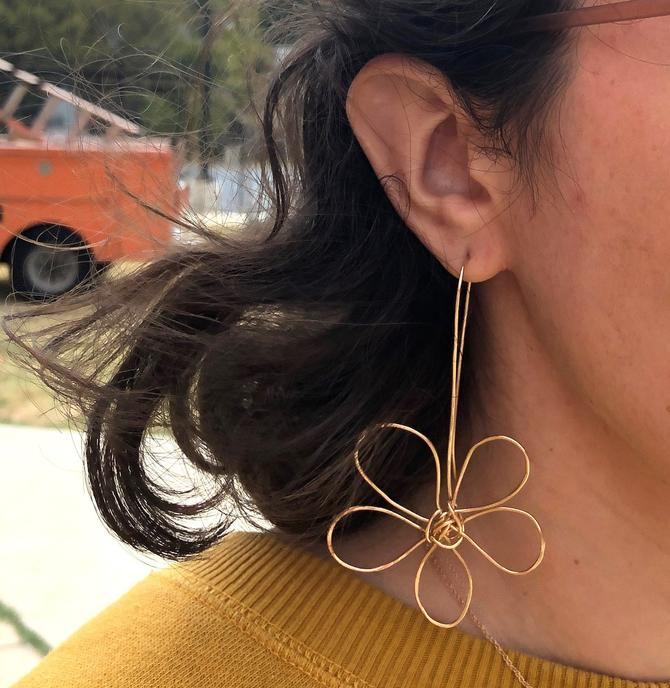 Flower Doodle Earrings Handmade in 14k Gold Filled Wire Sculptural Statement Artisanal One of a kind earrings by RachelPfefferDesigns