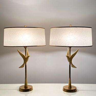 Pair Vintage Mid Century Rembrandt Brass Dove Table Lamps 1950s by 20cModern