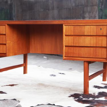 MAJORLY STUNNING Mid Century Kai Kristiansen Danish Modern Teak + Rosewood Executive Desk Two-sided Bookshelf Shelves cabinet Lock + key MCM by CatchMyDriftVintage