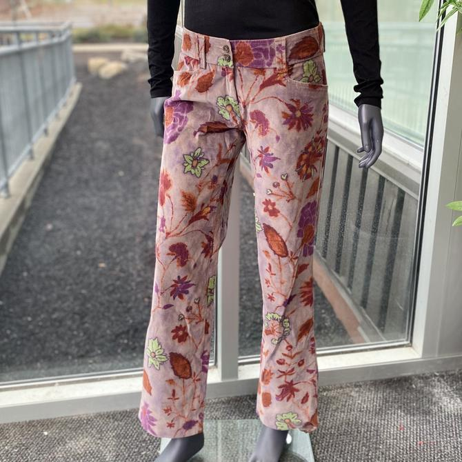 ETRO MILANO Vintage 1990s Floral Velour Pants - Size 8 - Retro 90s Velvety Purple Boho Hippie Flower Print Cropped Bootcut Flare by AIDSActionCommittee