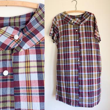Vintage 1960s Maroon Plaid Shirt Dress / XL-2XL by MsTips