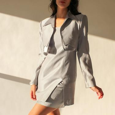 Vintage 80s 90s Alberto Makali Silver Striped Sheath Dress and Bolero Two Piece Set | Made in USA | 1980s 1990s Designer Power Blazer Suit by TheVault1969