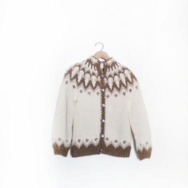 Fair Isle Pattern Knit Cardigan Sweater by LooseGoods