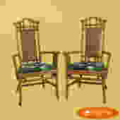 Pair of High-Back Bamboo Arm Chairs