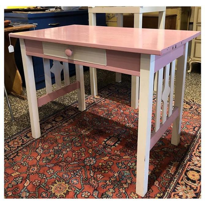 Pink white painted desk with a drawer 40 W x 24 D x 30 H
