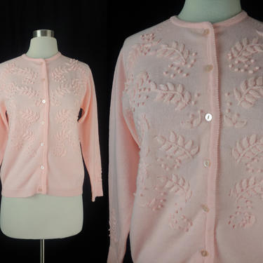 Vintage Sixties Pink Acrylic Embroidered Cardigan Sweater - 60s Small Button Front Pink Floral Cardigan by JanetandJaneVintage