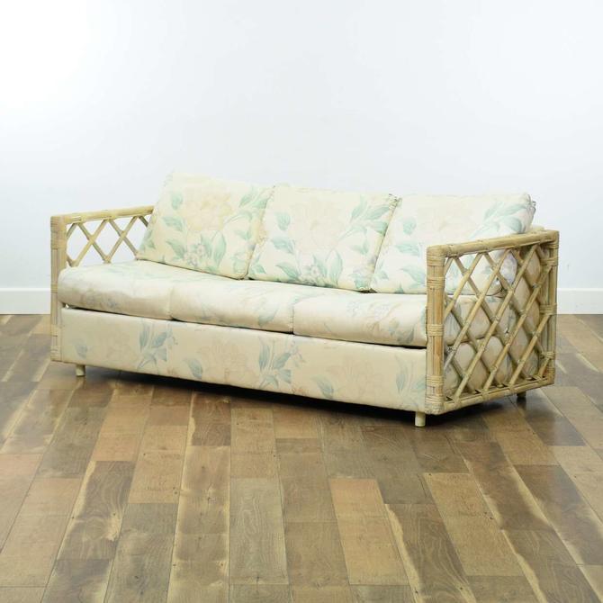 Tiki Style Bamboo & Rattan Sleeper Sofa