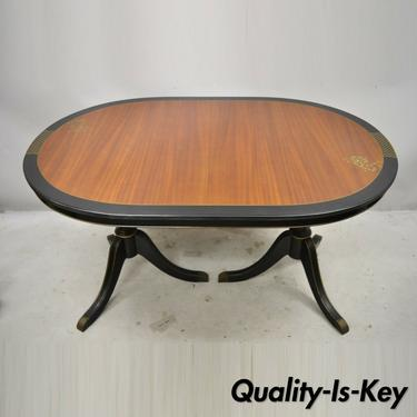 Alliance Furniture Duncan Phyfe Mahogany Black Oriental Oval Dining Room Table