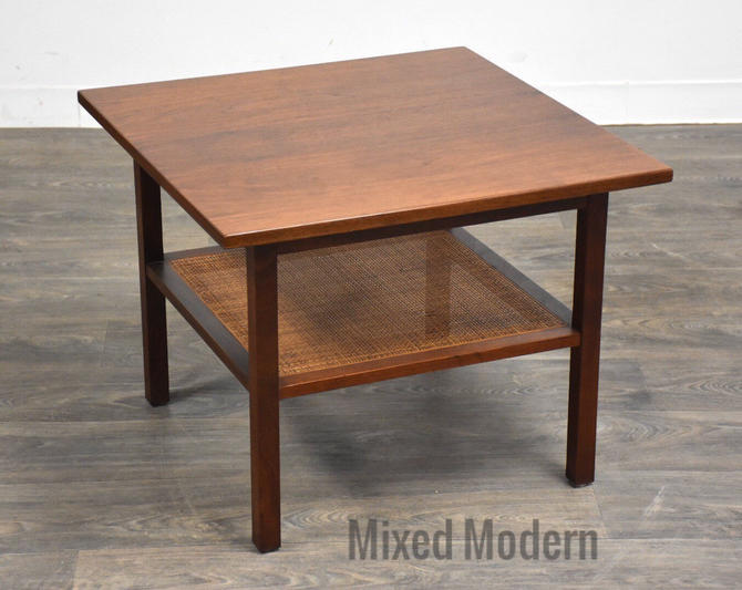 Walnut and Cane Square End Table by mixedmodern1