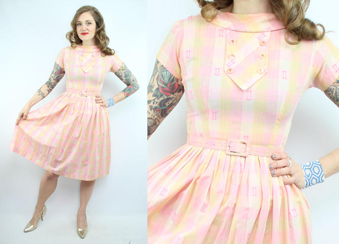 f308c5ca1a4 Vintage 50  39 s Pink Cotton Day Dress and Belt   1950  39 s Summer ...