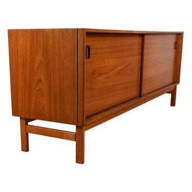 Danish Teak Low Sliding Door Cabinet \/ Sideboard w\/ Black Edge Trim