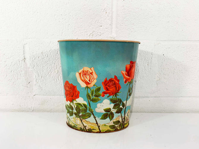 True Vintage Rose Trash Can Metal Basket Waste 1950s 50s Tin Litho Cheinco MCM Chein Co Paper Flowers Floral Made in USA Boho Indie Romantic by CheckEngineVintage