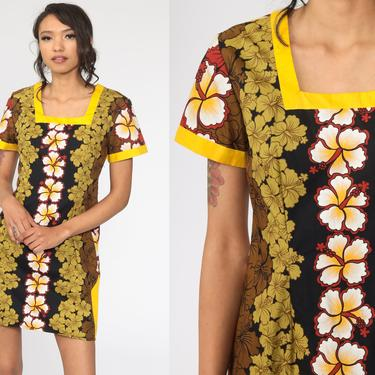 90s Floral Dress Hawaiian Hibiscus Tropical Mini Sundress Flower Print Summer Dress Boho 1990s Bohemian Vintage Shift Yellow Small by ShopExile